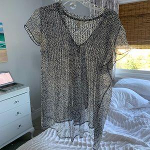 Joie Blue Sheer Dot Sleeveless Shirt